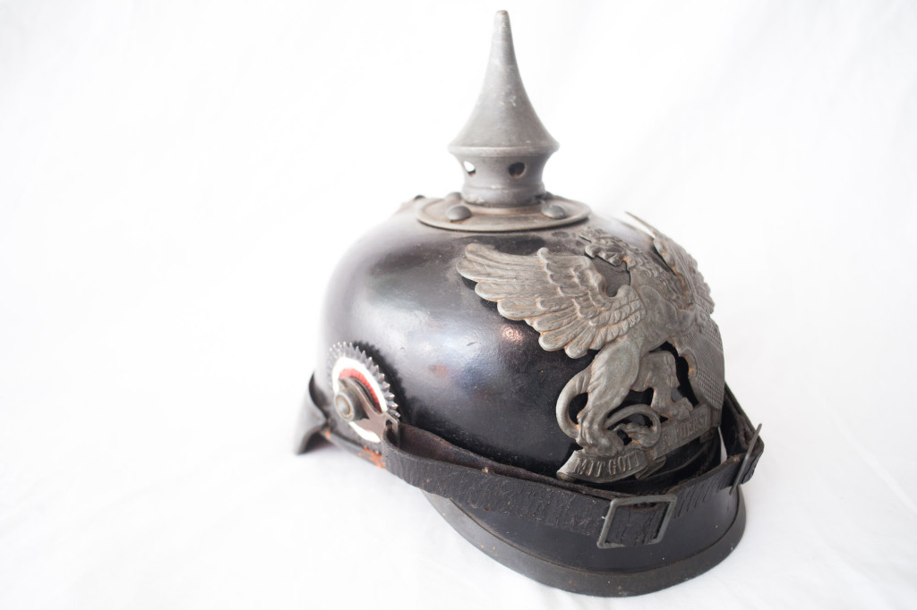 "World War One German ""Baden"" Pickelhauben Spiked Helmet Side"