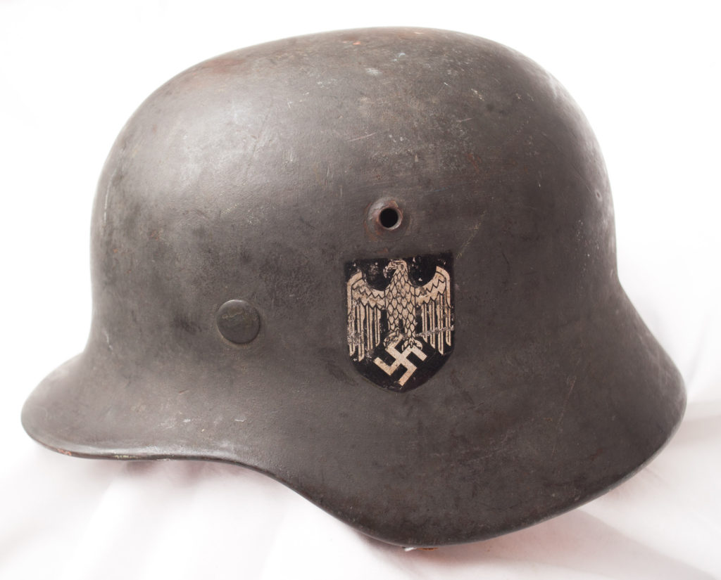 World War Two German Double Decal helmet with original liner and chinstrap.