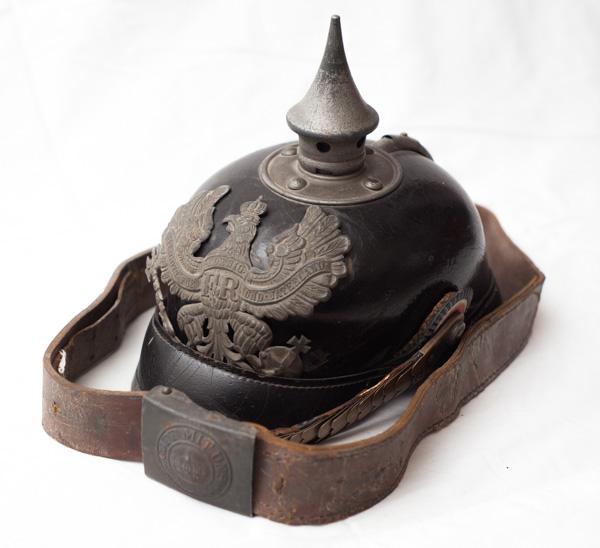 WW1 Imperial German 1915 dated Pickelhaube spiked helmet