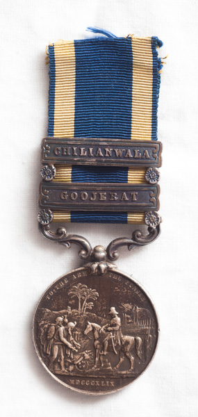 """1849 Punjab medal with """"CHILIANWALA"""" and """"GOOJERAT"""" clasps"""