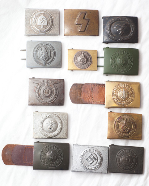 WW1 and WW2 Imperial German and Nazi belt buckles, including Hitler Youth, NSKK and SS buckles.