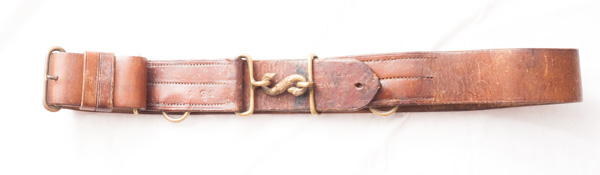 World War One Canadian uniform belt with snake buckle.